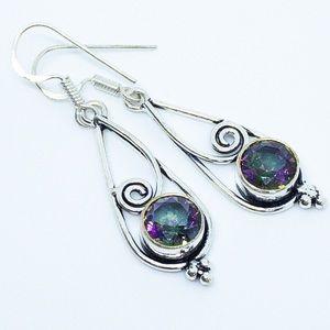 Mystic Topaz 925 Sterling Silver Dangle Earrings